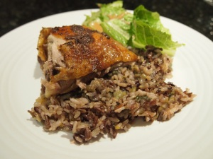 Roasted Chicken on a bed of Wild Rice with Leek and Peppers